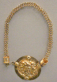 Roman necklace, medusa head on the pendant used as a clasp, II° c A.D.